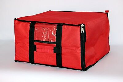 "Zipper Pizza Delivery Bag Red Thermal Insulated 19""x 19""Nylon holds 5 16"" Pizzas"