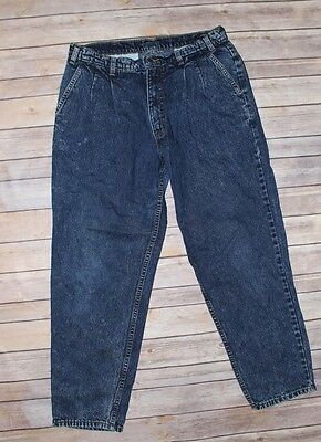 Vintage Levi Strauss Dark Denim Jeans 32 X 30 Men 80s Straight Leg Pleated Front