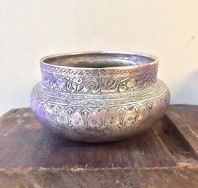Antique Persian Middle Eastern Islamic Copper Wine Bowl Hand Engraved