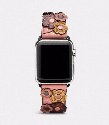 NWT Coach Tea Rose Floral Applique Leather Strap W6132 Melon for Apple Watch New