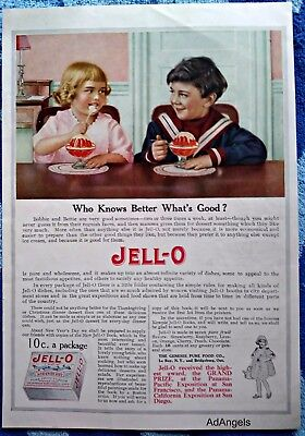 1915 Jell-O Little Boy Girl Dinning Table Who Knows Better What's Good ad
