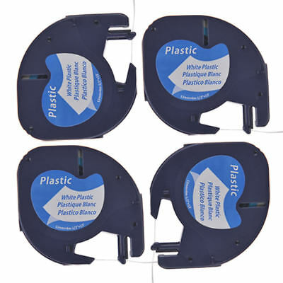 4PK Compatible For DYMO LetraTag LT 91331 Black on White plastic Label Tape 12mm