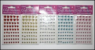 Self Adhesive Diamante Stick On Sparkly Jewels Love Heart Gems Asst Colours