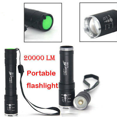UltraFire 20000Lm Zoomable T6 LED 18650 Flashlight Torch Lamp Poweful Light