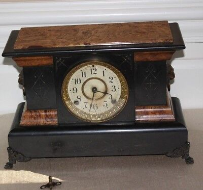 Antique Seth Thomas Lion Head Mantle Clock Adamantine with Key