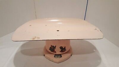 Vintage Metal Baby Scale 24lb Brearley Company 1950s Nursery Decor Pink Works