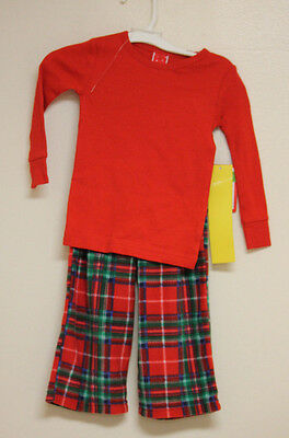 Style Toddler 2 Piece Pajamas by Target Red Top & Plaid Fleece Pants Christmas