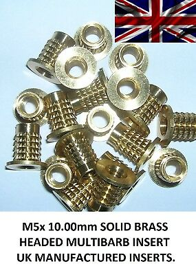 M5x 10.00mm (10 inserts) Solid Brass threaded Press/Push-in Inserts for Plastic.