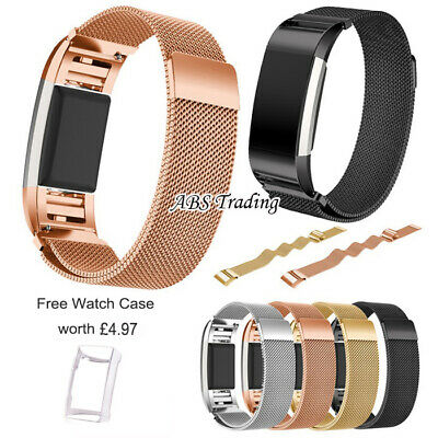 Magnetic Milanese Stainless Steel Watch Band Strap For Fitbit Charge 2 - 2 Sizes