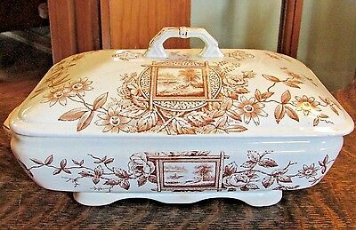 Antique Adams Tunstall Maitland Brown Transferware Covered Vegetable Dish Tureen