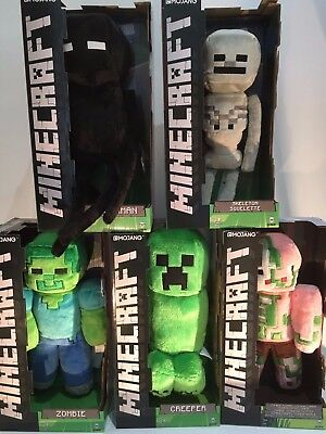 "12"" Minecraft Soft Toy Boxed Mojang - Creeper Zombie Enderman Pigman Skeleton"