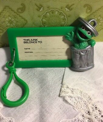 Vintage The Muppets Oscar The Grouch  Green Plastic Luggage Tag