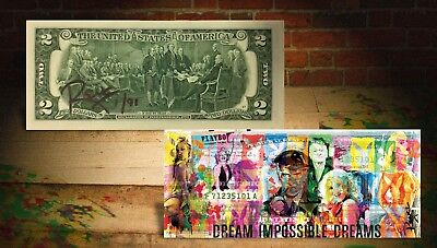 PLAYBOY Dream Impossible Banksy/Rency ART GENUINE $2 Bill HAND-SIGNED LTD to 91
