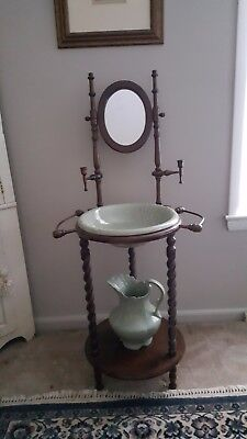 Vintage Wooden Wash Basin Stand with Mirror, Pitcher and Bowl