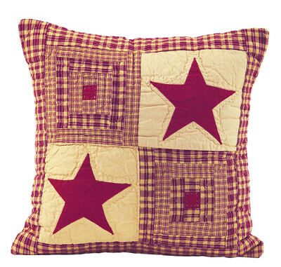 """VINTAGE STAR WINE Country Primitive Quilted 16"""" Throw Pillow Cover SHIPS FREE"""