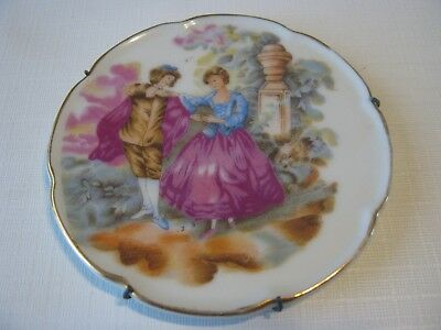 Vintage J. Athineos Courting Couple Porcelain Small Wall Plate