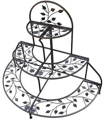 Folding Plant Stand 3 Tier Metal Iron Leaves Bronze Finish Decor Indoor Outdoor