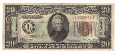 1934 A US Emergency Wartime Issue Hawaii $20 Brown Seal Currency Note! C8844