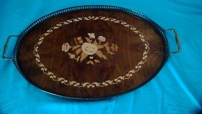 Italian Inlaid Wood Serving Tray with Brass Handles 21""