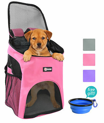 Dog Cat Pet Carrier Backpack w Mesh Pup Pack Breathable for Travel Hiking Outing