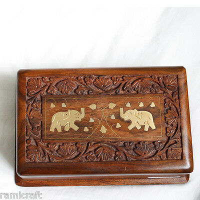 Fair Trade Gift Storage Jewellery Box Indian Brass Elephants Gorgeous!!!