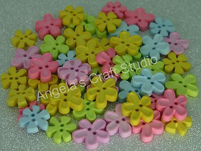 15 SMALL FUNKY PASTEL FLOWER NOVELTY Buttons - Great for Craft & Sewing Projects