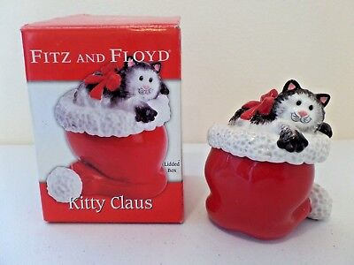 2006 Fitz and Floyd Kitty Claus Hand Painted Santa Hat & Cat Trinket Jewelry Box