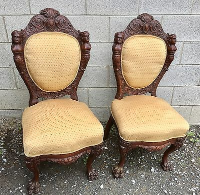 Pair Of R.j. Horner Carved Oak Figural Chairs