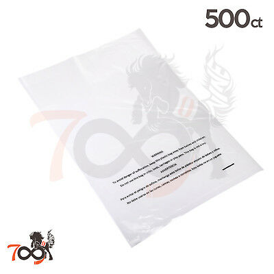 500 1 Mil 10x15 Owlpack Clear Poly Plastic Open End Suffocation Warning FBA Bag