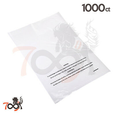 1000 1 Mil 10x15 Owlpack Clear Poly Plastic Open End Suffocation Warning FBA Bag