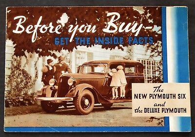 Original 1934 Plymouth Six And Deluxe Sales Brochure ~ 24 Pages ~ 34P6D