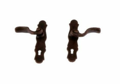Dollhouse Miniature French Lever Style Door Knob or Door Handle in Bronze Finish