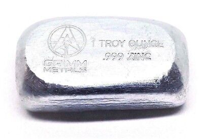 1 Troy Ounce .999 Fine Zinc Bullion Bar - Hand Poured & Stamped - Grimm Metals