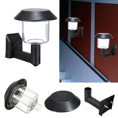 Outdoor Garden Fence Lamp Solar Powered Wall Mount LED Light with Screws Black