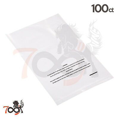 100 2 Mil 8x10 Owlpack Clear Poly Plastic Open End Suffocation Warning FBA Bag