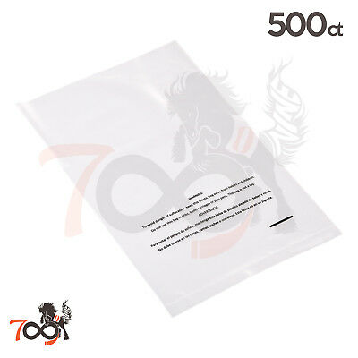 500 2 Mil 8x10 Owlpack Clear Poly Plastic Open End Suffocation Warning FBA Bag