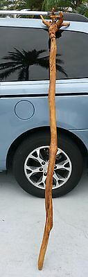 Vintage Hand carved wooden over sized walking stick Carved face Wizards staff?