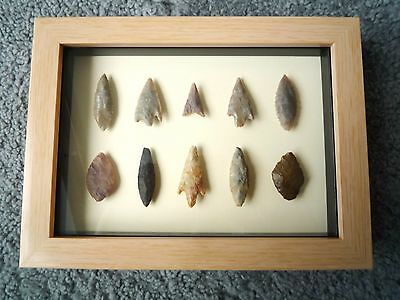 Neolithic Arrowheads in 3D Picture Frame, Authentic Artifacts 4000BC (1051)