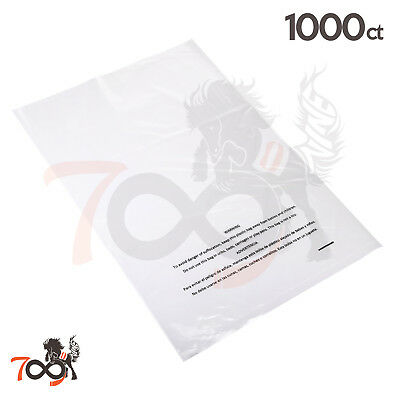 1000 2 Mil 12x18 Owlpack Clear Poly Plastic Open End Suffocation Warning FBA Bag