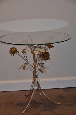 one antique gold gilt rose table with glasse Hollywood regency Italy