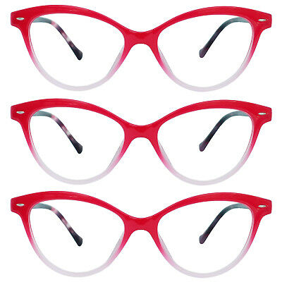 4303b007169 3 Pack Cateye Style Red Reading Glasses with Spring Hinges for Women  1.00-4.00