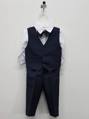Boys Wedding Party Set size 0000 - 1 Shirt Vest Pants Bowtie Outfits B135S Blue