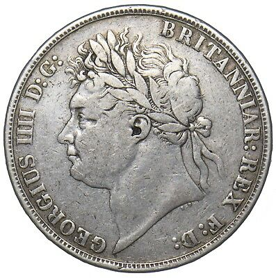 1821 Crown - George Iv British Silver Coin - Nice