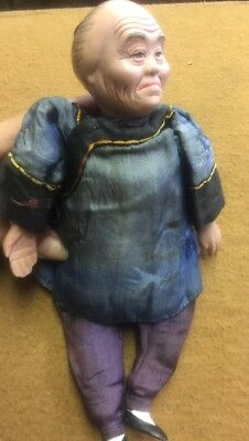 Antique Vintage Chinese Hand Painted Porcelain Traditional Silk Cloth DOLL