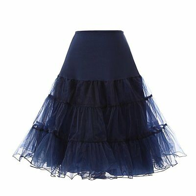Women 50s Vintage Rockabilly Petticoat Net Underskirt Hoops Fluffy Skirt Slips