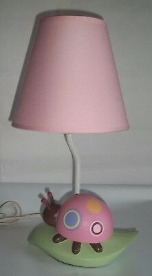 Ladybug Lamp for Girl's room or nursery. Bug sits on a leaf with pink shade.