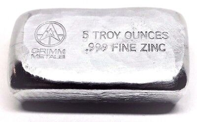5 Troy Ounce .999 Fine Zinc Bullion Bar - Hand Poured & Stamped - Grimm Metals