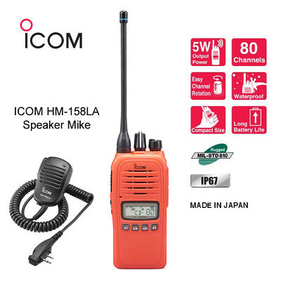 Icom Ic-41Pro Orange Uhf/cb Handheld Radio + Hm158 Speaker Microphone New !!!