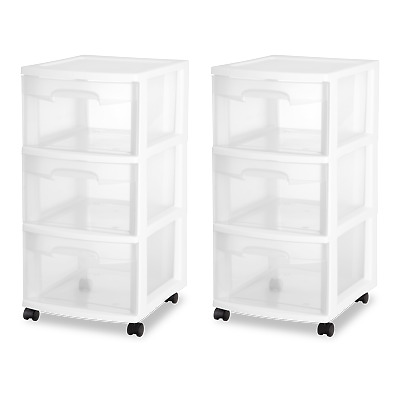 3 DRAWER PLASTIC STORAGE Rolling Cart Cabinet Organizer Container