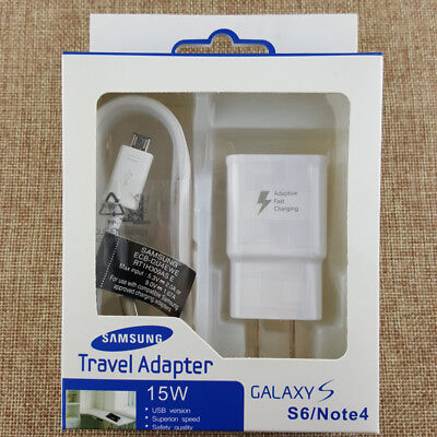 OEM Adaptive Fast Wall charger+5ft Cable For Samsung Galaxy Note 4 5 S6 S7 Edge